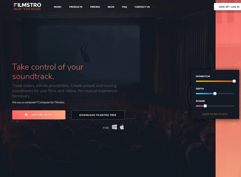 Скрин интерфейса Filmstro