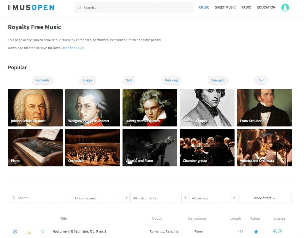 Фоновая музыка на сайте Musopen