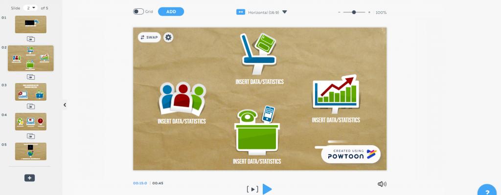 Скрин интерфейса Powtoon 2