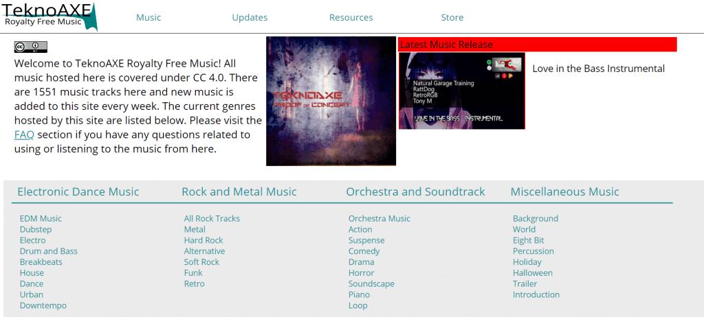 Интерфейс сайта с музыкой Teknoaxe