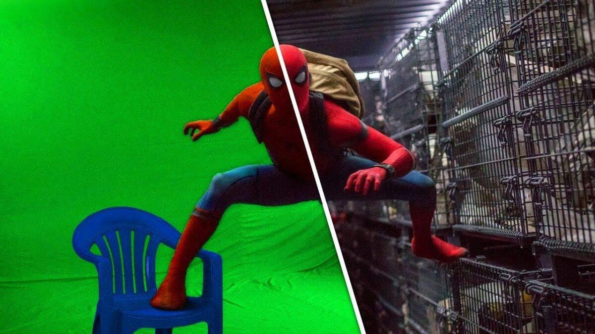 Человек паук на зеленом фоне