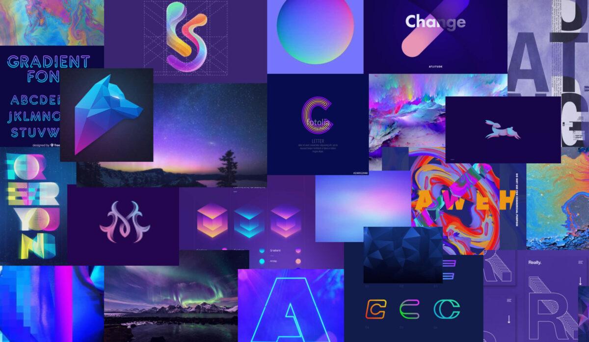 """Мудборд """"Фиолетово-голубой неон и свечение - дизайн-тренд 2020"""""""