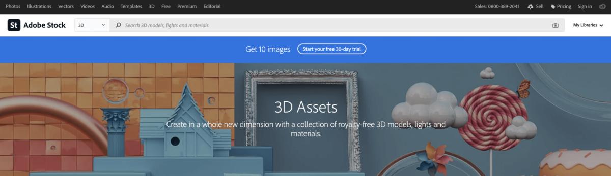 Скрин с главной Adobe Stock